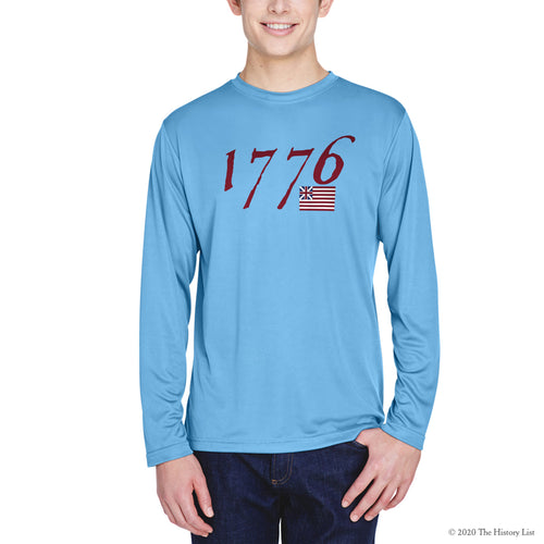 """We hold these truths - July 4, 1776"" on moisture-wicking 100% polyester interlock with SPF 40+ UV protection - Long-sleeved"