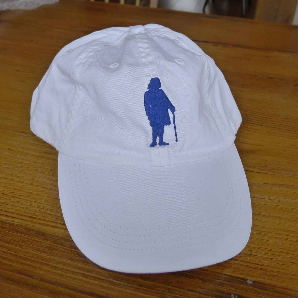 "Embroidered Ben Franklin ""History Nerd"" cap - Blue on white cap"