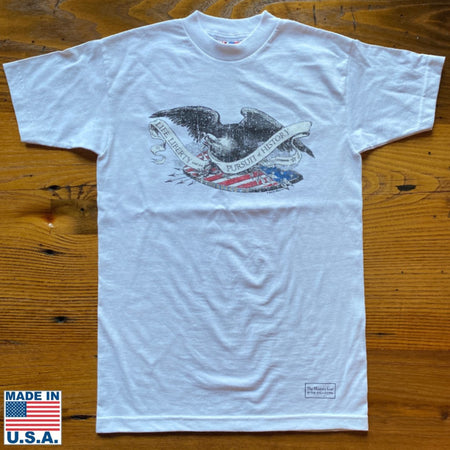 """Life Liberty, and the Pursuit of History"" shirt with Historic Eagle and Shield Engraving"