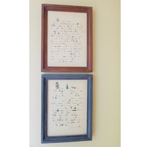 "Revolutionary Rebuses: ""America to Her Mistaken Mother"" and ""Britannia to America"" in a handmade frame"