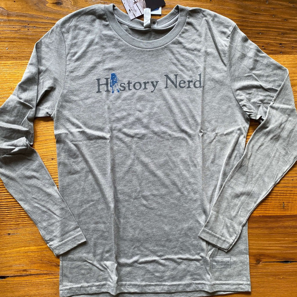 """History Nerd"" Apollo 11 Moon Landing 50th Anniversary long-sleeved shirt - Heather grey from The History List Store"