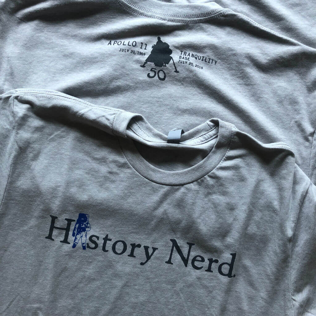 """History Nerd"" Apollo 11 Moon Landing 50th Anniversary shirt - Silver from The History List Store"