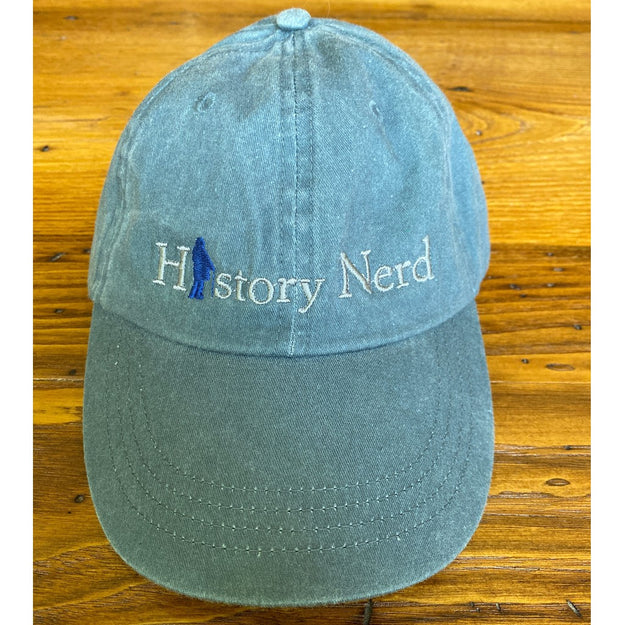 "Embroidered ""History Nerd"" with Ben Franklin cap - Denim"