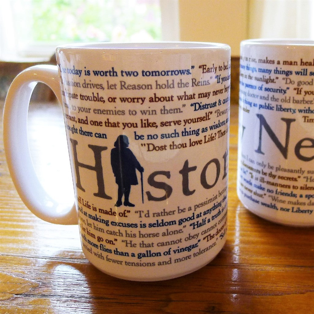 """History Nerd"" Mug with Ben Franklin Quotes from The History List Store"