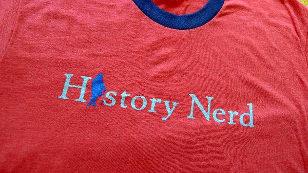 """History Nerd"" Ringer T-Shirt with Ben Franklin - Red heather with blue ring - Only one from The History List Store"