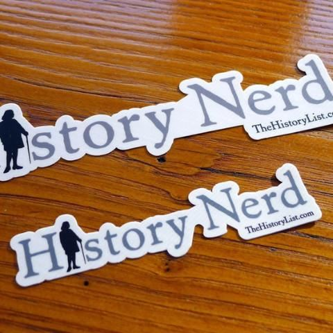 """History Nerd"" sticker with Ben Franklin from The History List Store"