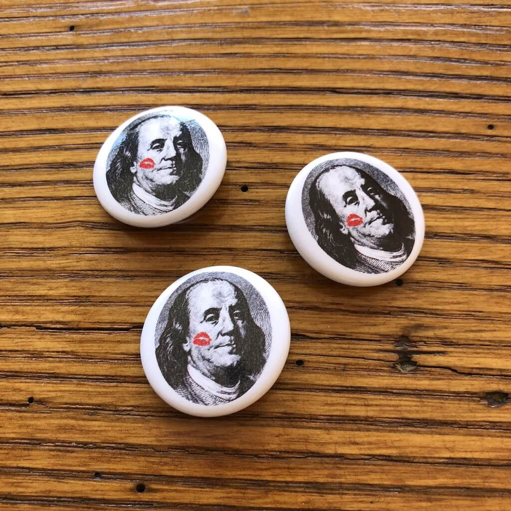 """History Lover"" with Ben Franklin button pin from The History List Store"