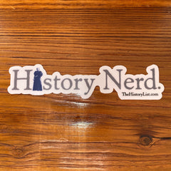 """History Nerd"" sticker with Susan B. Anthony"