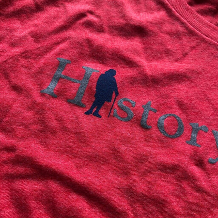 """History Nerd"" with Ben Franklin long-sleeved shirt - Light red heather from The History List Store"
