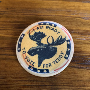 "Teddy Roosevelt ""I'm ready to vote for Teddy"" presidential campaign button"