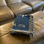 """Victory"" blanket woven in the US showing the stars from Washington's HQs flag"