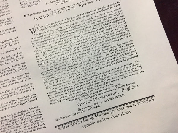 "Buy the ""United States Constitution"" from the Printing Office of Edes & Gill in Boston - Pre-ratification, with letter from George Washington from The History List Store"