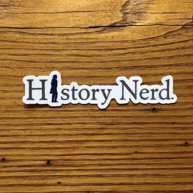 """History Nerd"" sticker with Thomas Jefferson from The History List Store"