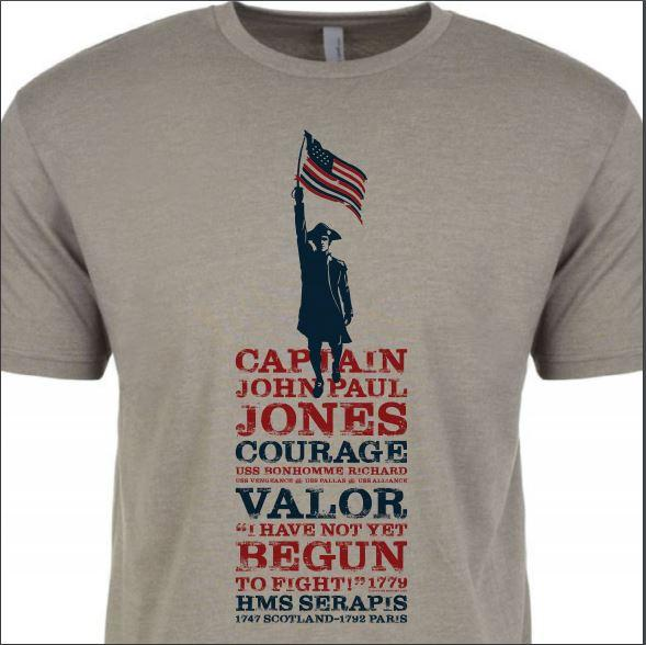 "John Paul Jones shirt - ""I have not yet begun to fight!"" - Warm grey from The History List Store"