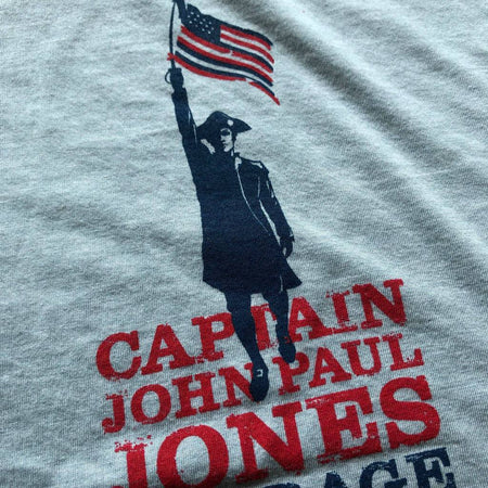 "John Paul Jones shirt - ""I have not yet begun to fight!"" - Light blue heather from The History List Store"