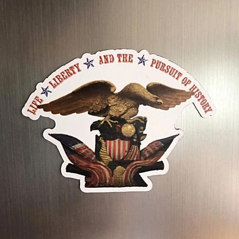 """Life, liberty and the pursuit of history"" Die-cut magnet from The History List Store"