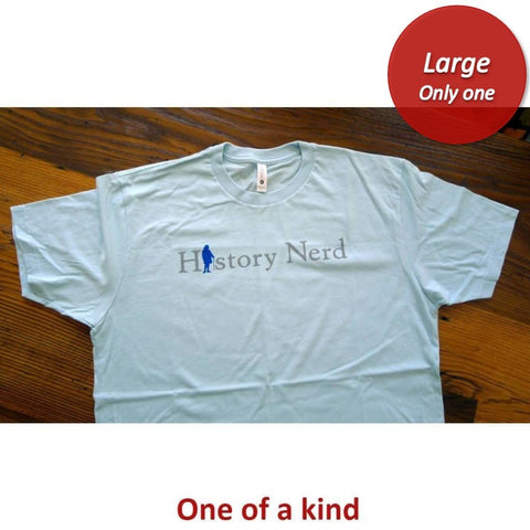 """History Nerd"" shirt with Ben Franklin - Light blue - Only one from The History List Store"