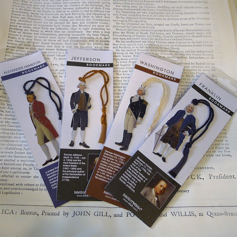 Metal Bookmark - Alexander Hamilton, Thomas Jefferson, George Washington and Ben Franklin from The History List Store