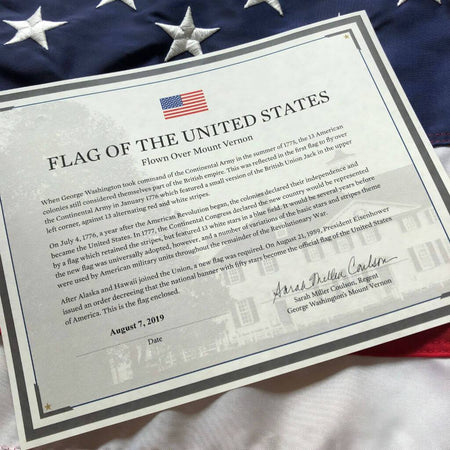 American Flag flown over Mount Vernon from The History List Store