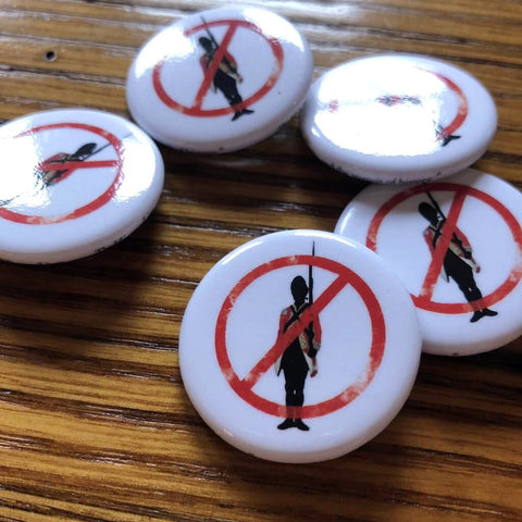Button pin protesting British troops occupying Boston from The History List Store