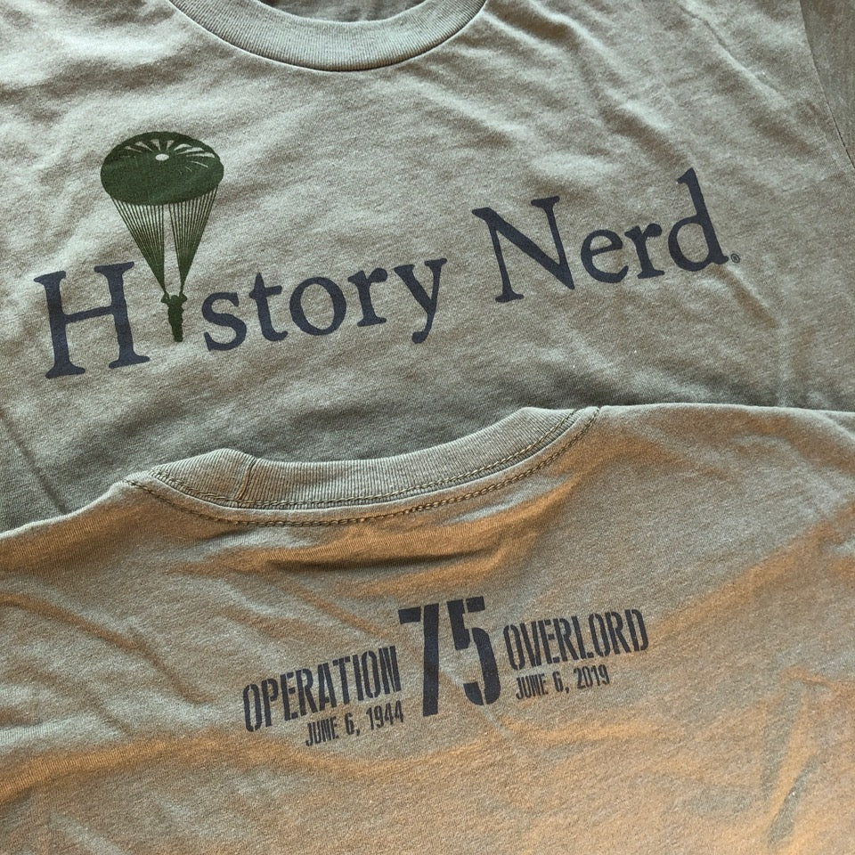 """History Nerd"" shirt with WWII Paratrooper - 75th Anniversary of D-Day from The History List Store"