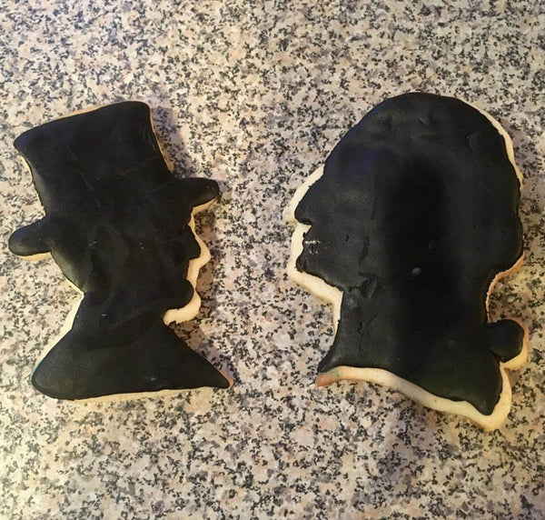 Abraham Lincoln in a top hat cookie cutter from The History List Store