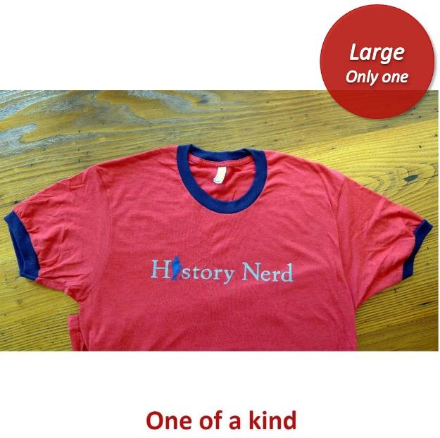 """History Nerd"" Ringer shirt with Ben Franklin - Red heather with blue ring - Only one from The History List Store"