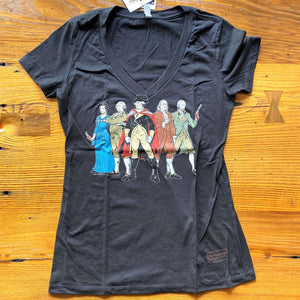 """Revolutionary Superheroes"" V-neck T-Shirt - Black from The History List Store"