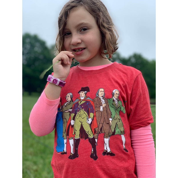 """Revolutionary Superheroes"" T-Shirt in Youth sizes - Red from The History List Store"