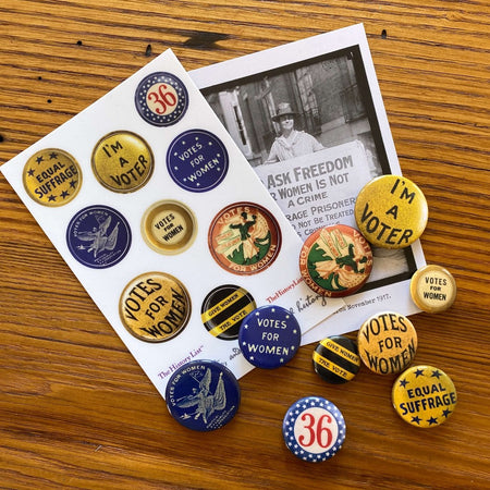 Suffrage Campaign Button Sticker Sheet with 9 stickers from The History List Store