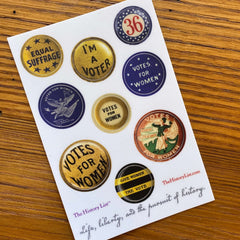 Suffrage Campaign Button Sticker Sheet with 9 die-cut stickers