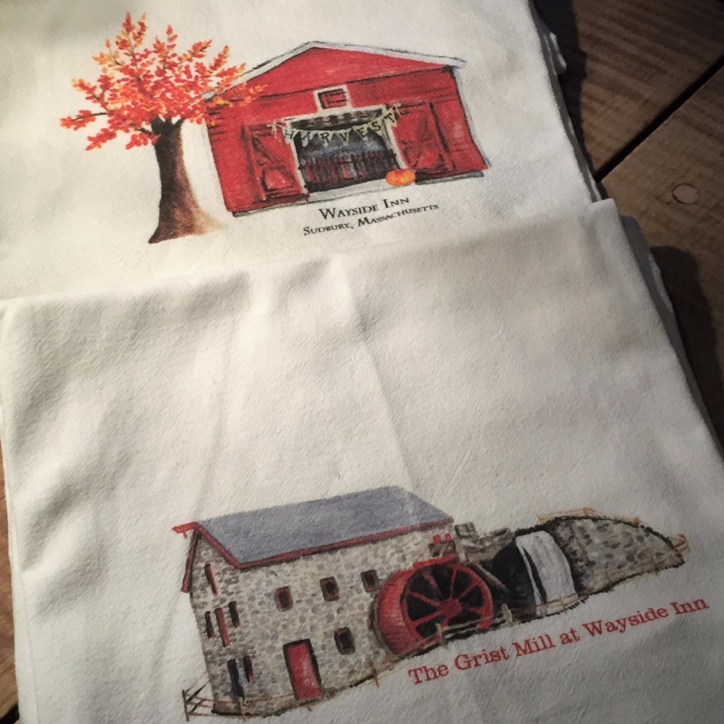 """Flour sack"" Tea towels - The grist mill and barn at Wayside Inn - sold as a pair from The History List Store"