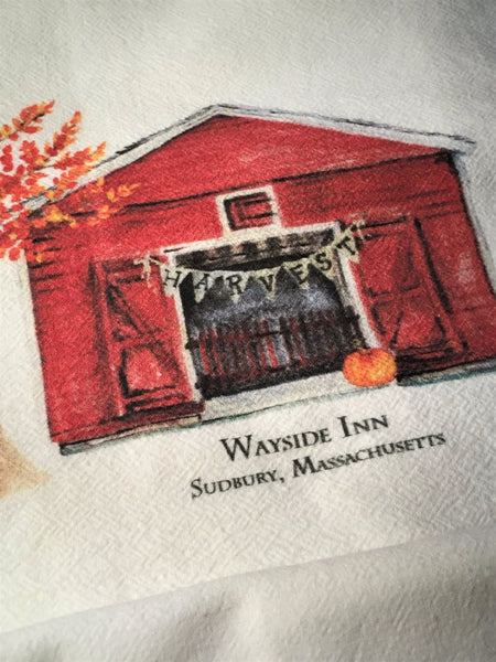 """Flour sack"" Tea towels - The grist mill and barn at Wayside Inn - sold as a pair"