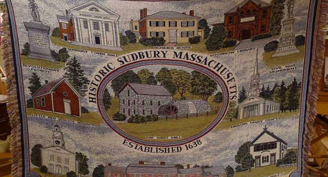 Throw blanket with historical scenes of Wayside Inn from The History List Store