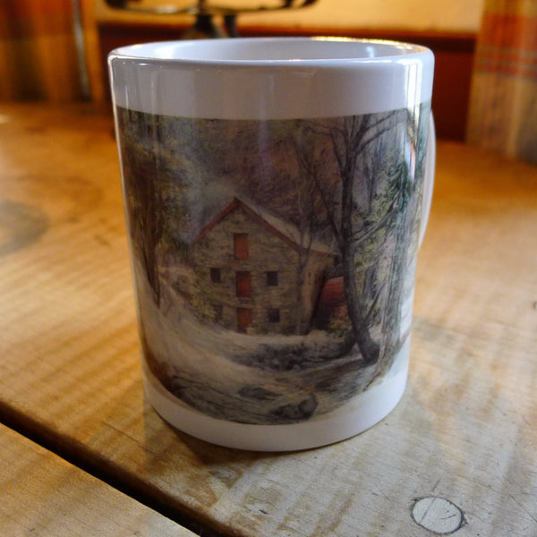 Wayside Inn mug with a painting of The Grist Mill from The History List Store