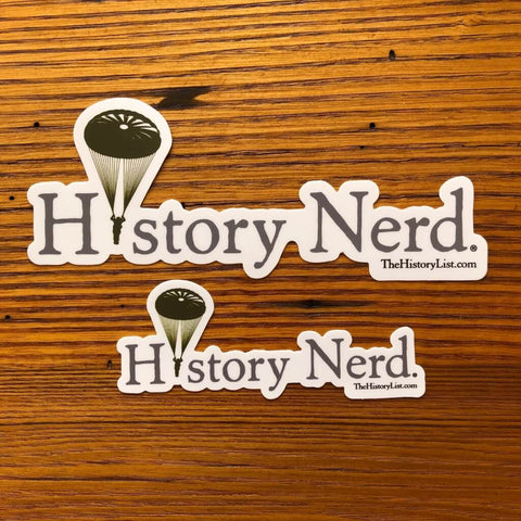 """History Nerd"" Sticker with WWII Paratrooper from The History List Store"
