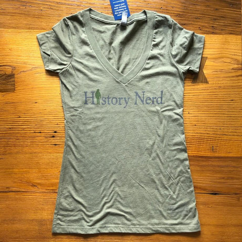 """History Nerd"" V-neck shirt with a WWII Soldier - Military green from The History List Store"