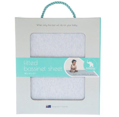 ALL4ELLA - FITTED BASSINET SHEET BLUE MARLE