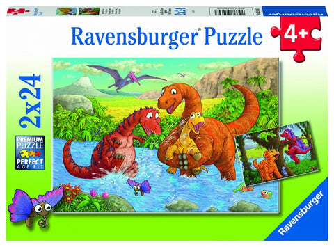 RAVENSBURGER - DINOSAURS AT PLAY 2X24PC PUZZLES