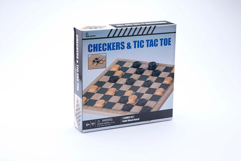 SOLID WOOD CHECKERS & TIC TAC TOE