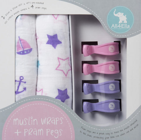 ALL4ELLA - 2PK MUSLIN WRAPS & PRAM PEGS PINK STARS/NAUTICAL