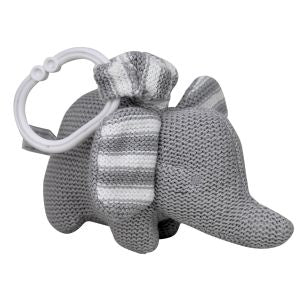 KNITTED ELEPHANT PRAM TOY - BLUE