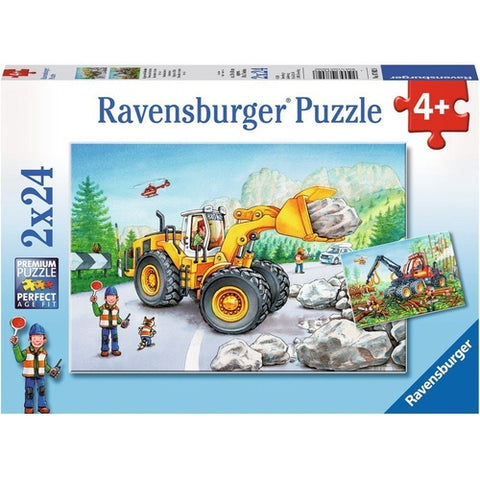 RAVENSBURGER - DIGGERS AT WORK 2X24PC PUZZLES