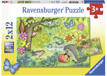 RAVENSBURGER -  ANIMALS IN OUR GARDEN 2x12PC PUZZLE