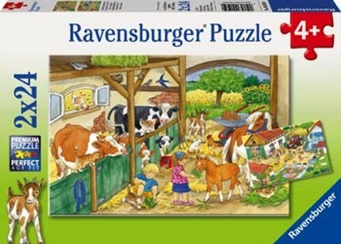 RAVENSBURGER - A DAY ON THE FARM 2X24PC PUZZLES