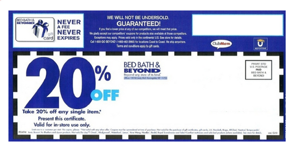 Bed Bath & Beyond Coupon Temporary Tattoo