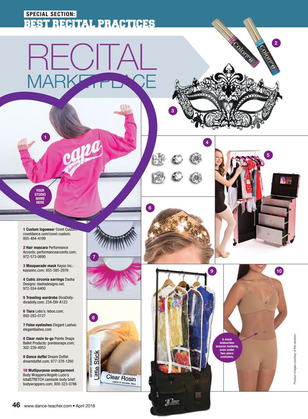 Covet Custom feature in Dance Teacher Magazine's Recital Issue