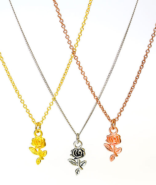 Three Finishes of Covet Charms Recital Rose Necklace