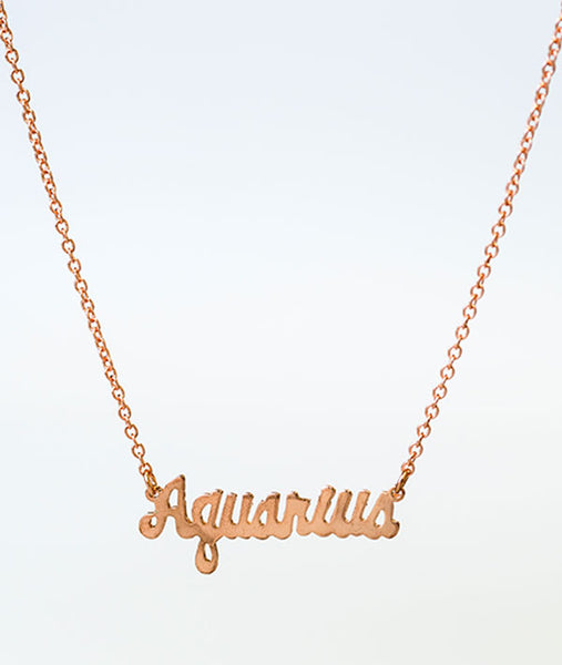 Aquarius Rose Gold Zodiac Necklace
