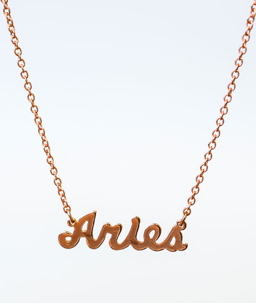Aries Rose Gold Zodiac Necklace